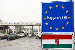 Border sign of Hungary pic